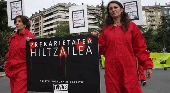 2012ko Lan Osasunaren Nazioarteko egunean LABek Donostian egindako mobilizazioa.