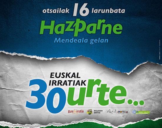 Euskal Irratiak 30 urte... otsailak 16 Hazparneko Mendeala gelan.