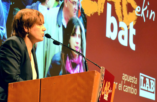 Ainhoa Etxaide en la última asamblea de delegados y delegadas.