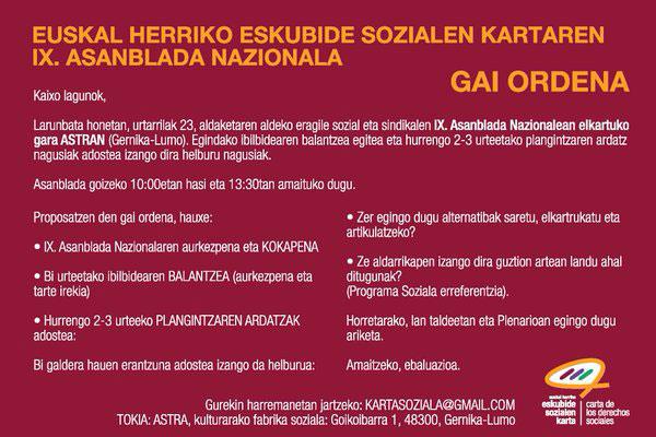 IX. Asanblada Nazionalaren gai ordena.
